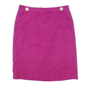 Talbots hot pink pencil skirt w/ button accents & pockets [Size 2]